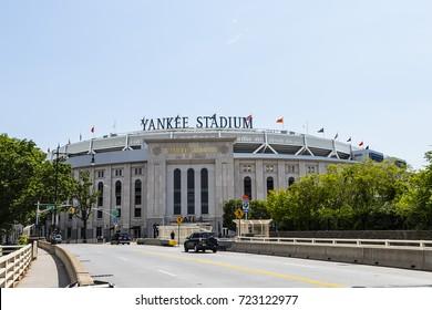 New York City, USA - June 10, 2017: Outside view of Yankee Stadium in Bronx, seen from the Macombs Dam Bridge