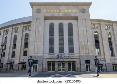 New York City, USA - June 10, 2017: Outside view of Yankee Stadium Gate 4 in Bronx