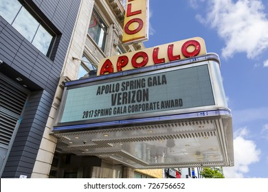 New York City, USA - June 10, 2017: The Apollo Theater is the famous landmark in Harlem district of New York