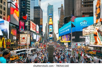 NEW YORK CITY, USA - JUNE 21, 2016: People and famous led advertising panels in Times Square, iconic symbol of New York City