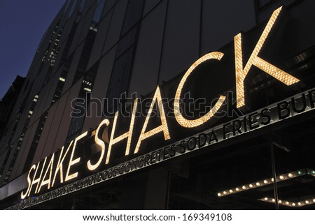 NEW YORK CITY, USA - JUNE 8: Shake Shack is a restaurant chain serving hamburgers, hot dogs, french fries, milkshakes and similar foods. June 8, 2012 in New York City, USA