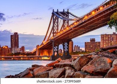 New York City, USA at the Manhattan Bridge spanning the East River.