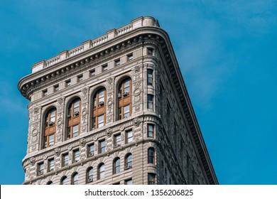 New York City - USA - Mar 14 2019: The Flatiron Building, originally the Fuller Buildinge in the Flatiron District neighborhood of borough of Manhattan, New York City.