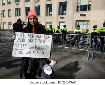 "New York City, New York / USA - March 24 2018: March for Our Lives: ""Black Men Are 13X More Likely To Be Shot And Killed Than White Men""."