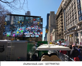 New York City, New York / USA - March 24 2018: Demonstrators on Central Park West during the March for Our Lives in New York City.
