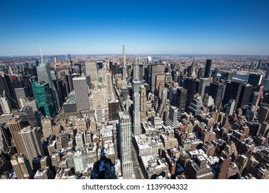 New York City, USA - March 17, 2017: View of Manhattan from the Empire State Building in NYC.