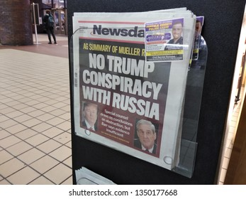 New York City, New York / USA - March 25 2019: Newsday's front page regarding the recently released Mueller report.