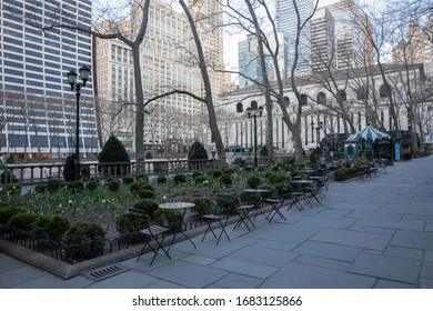 New York City, U.S.A - March 21st, 2020:  Less people in the Bryant park due to Coronavirus outbreak.