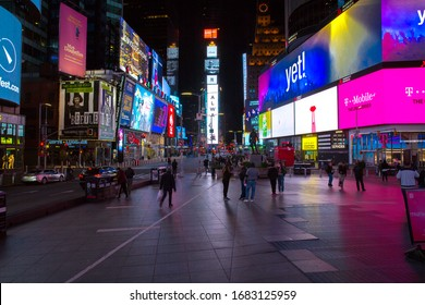 New York City, U.S.A - March 21st, 2020:  Less people in the street at Time Square due to Coronavirus outbreak.