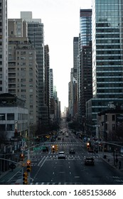 New York City, New York / USA - March 27 2020: Empty streets of New York City during pandemic coronavirus Covid-19 break