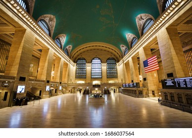 New York City, New York / USA - March 28 2020: Empty grand central terminal station is completely empty without people during coronavirus outbreak pandemic in New York City