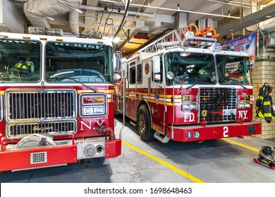 NEW YORK CITY, USA - MARCH 15, 2020: Fire truck parked in the fire station in Manhattan in New York City, USA