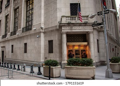 New York City, New York / USA - March 21, 2013: The entrance to the New York Stock Exchange on Wall Street.