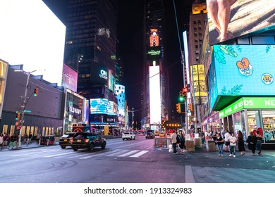NEW YORK CITY, USA - MARCH 15, 2020: Times Square at night is a symbol of New York City, USA