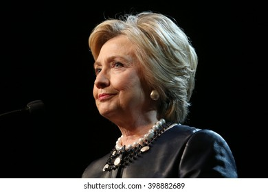 New York City, New York, USA, March 31, 2016; Democratic Presidential Candidate Hillary Clinton speaks at the Apollo Theater in Harlem, New York City.