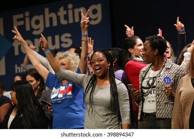 New York City, New York, USA, March 31, 2016; Women cheer as Democratic Presidential Candidate Hillary Clinton speaks at the Apollo Theater in Harlem, New York City.