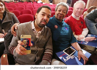 New York City, New York, USA, March 30, 2016; Confessor and Ms. Jackson pose before Democratic Presidential Candidate Hillary Clinton speaks at the Apollo Theater in Harlem, New York City.