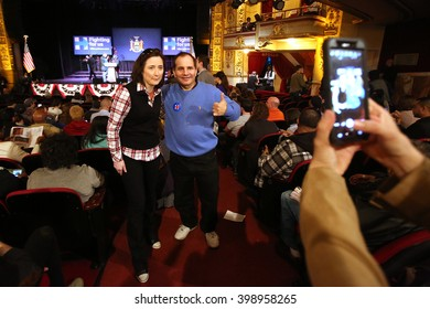 New York City, New York, USA, March 30, 2016; People pose before Democratic Presidential Candidate Hillary Clinton speaks at the Apollo Theater in Harlem, New York City.