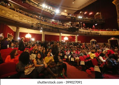 New York City, New York, USA, March 30, 2016; The crowd pictured before Democratic Presidential Candidate Hillary Clinton speaks at the Apollo Theater in Harlem, New York City.