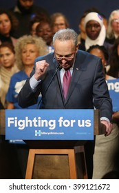 New York City, New York, USA, March 30, 2016; Senator Charles Schumer speaks before introducing Hillary Clinton rally at the Apollo Theater in Harlem, New York City.