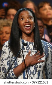 New York City, New York, USA, March 30, 2016; Broadway star Renee Elise Goldsberry sings the national anthem before a Hillary Clinton rally at the Apollo Theater in Harlem, New York City.