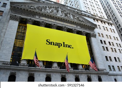 New York City, USA - March 2, 2017: Sign at the New York Stock Exchange marking the Initial Public Offering of Snapchat's parent company, Snap Inc. in New York City.