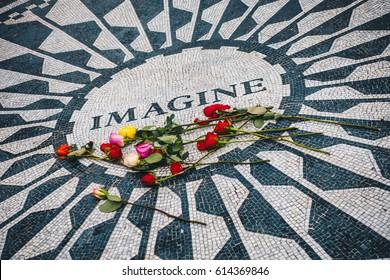 New York City, USA - March 18, 2017 - Strawberry Fields memorial for John Lennon in New York's Central Park