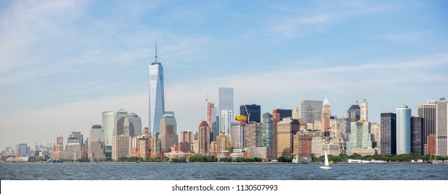 New York City, USA - May 30, 2015: Panoramic view of New York City skyline, Manhattan View from Statue of Liberty.  May 30, 2015 New York City, USA.