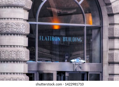 NEW YORK CITY, USA, May 30 2017: Entrance sign to the The Flatiron Building, originally the Fuller Building located at 175 Fifth Avenue in New York City, USA.