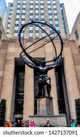 NEW YORK CITY, USA, May 31 2017: Atlas statue depicts the Ancient Greek Titan Atlas holding the heavens in New York City, USA