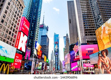 New York City, New York / USA - May 24 2019: Times Square, famous for the annual New Year's Eve ball drop, is located in Midtown Manhattan at the junction of Broadway and Seventh Avenue.