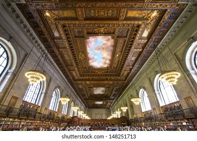 NEW YORK CITY, USA - MAY 7: New York Public Library is one of the largest public library in North America. May 7, 2014 in Manhattan, New York City.