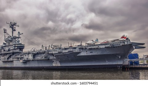 New York City, U.S.A, May 2019, view of the Intrepid Sea, Air & Space Museum located at Pier 86 at 46th Street in the Hell's Kitchen neighborhood