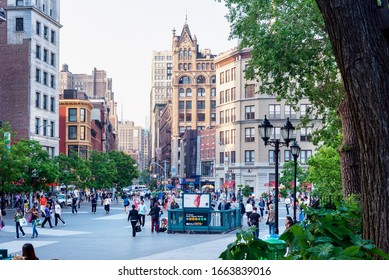 NEW YORK CITY, USA - MAY 21: Scene at Union Square in New York City, New York in the evening on May 21, 2013.