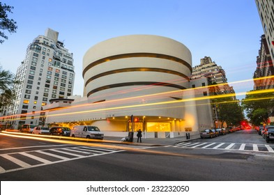New York City, USA - May 12, 2012: The Guggenheim Museum on 5th Ave. Established in 1937, the current museum building dates from 1959 and was designed by famed architect Frank Lloyd Wright.