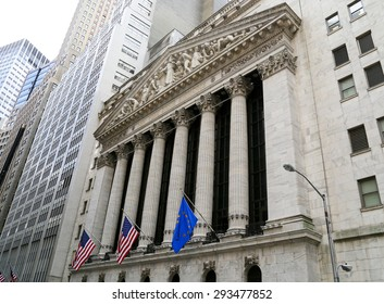 NEW YORK CITY, USA - MAY 19, 2014: Facade of the New York Stock Exchange on Wall Street.