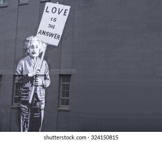 NEW YORK CITY, USA- MAY 2015: Albert Einstein (1879-1955) graffiti on the wall at High Line Park on May 18, 2015 in New York City.