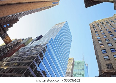NEW YORK CITY, USA - MAY 7, 2015: Silhouettes of modern skyscrapers in Lower Manhattan including the Freedom Tower, New York City, USA
