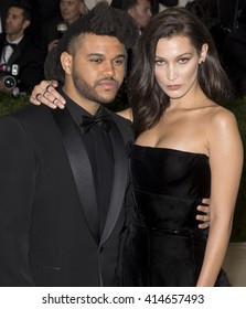 New York City, USA - May 2, 2016: The Weeknd (L) and Bella Hadid attend the Manus x Machina Fashion in an Age of Technology Costume Institute Gala at the Metropolitan Museum of Art
