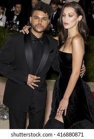 New York City, USA - May 2, 2016: The Weeknd and Bella Hadid attend the Manus x Machina Fashion in an Age of Technology Costume Institute Gala at the Metropolitan Museum of Art