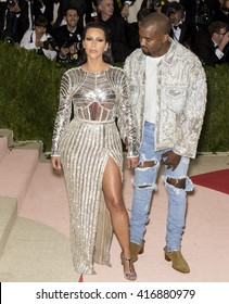New York City, USA - May 2, 2016: Kim Kardashian and Kanye West attend the Manus x Machina Fashion in an Age of Technology Costume Institute Gala at the Metropolitan Museum of Art