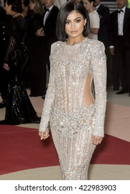 New York City, USA - May 2, 2016: Kylie Jenner attends the Manus x Machina Fashion in an Age of Technology Costume Institute Gala at the Metropolitan Museum of Art