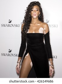 New York City, USA - May 24, 2016: Winnie Harlow attends attend Swarovski #bebrilliant event at The Weather Room - Rockefeller Center