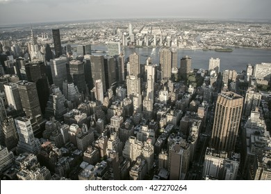 New York City, New York, USA May 17, 2013: Aerial view of Manhattan from the terrace of the Empire State building