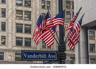 New York City, New York, USA  May 22, 2013:   American flags on Vanderbilt Ave.