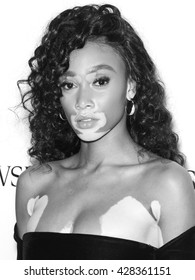 New York City, USA - May 24, 2016: Model Winnie Harlow attends Swarovski #bebrilliant event at The Weather Room - Rockefeller Center