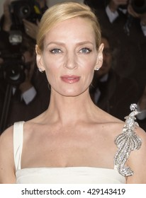 New York City, USA - May 2, 2016: Uma Thurman attends the Manus x Machina Fashion in an Age of Technology Costume Institute Gala at the Metropolitan Museum of Art