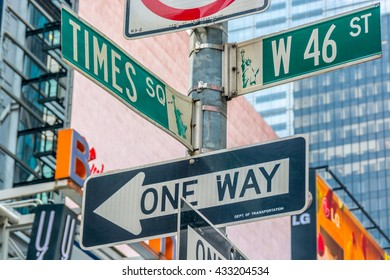 NEW YORK CITY, NEW YORK, USA  MAY 23, 2013:signal crossroads between Times Square and W 46 Street
