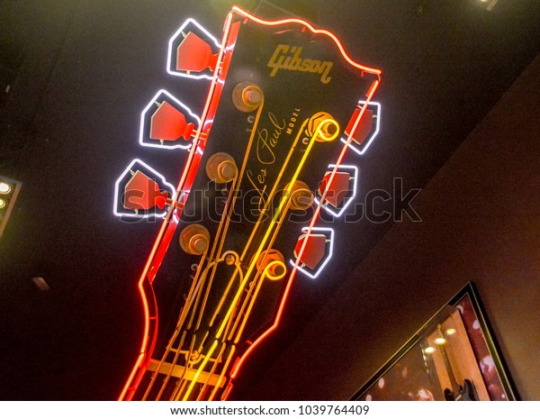 NEW YORK CITY, USA, May 27 2017: A part of reproduction of Gibson's Les Paul Model guitar settled in entrance hall at Hard Rock Cafe in New York City, USA.