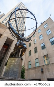 New York City, USA - Nov 13, 2011 : The Atlas statue low angle view at the Rockefeller Center